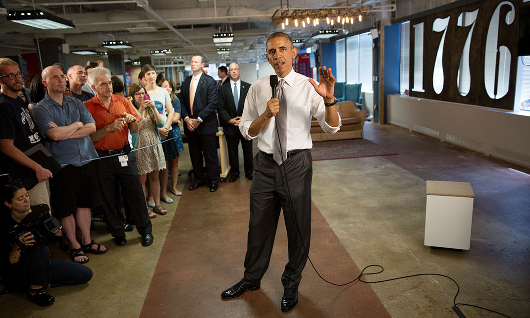 President Barack Obama speaks about the economy at DC tech startup hotbed 1776 on July 3, 2014. Official White House Photo by Lawrence Jackson.