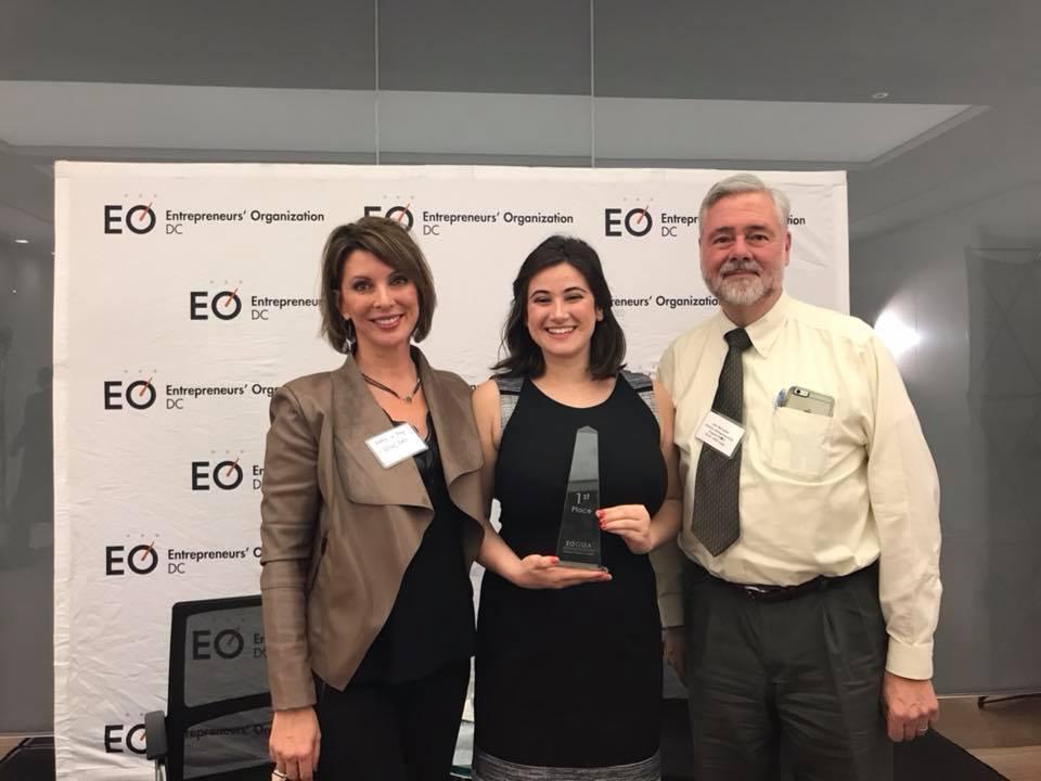 Danya Sherman alongside Kathy Korman Frey (Founder, Hot Mommas Project) and Lex McCusker (GW New Venture Competition) of the George Washington University School of Business.