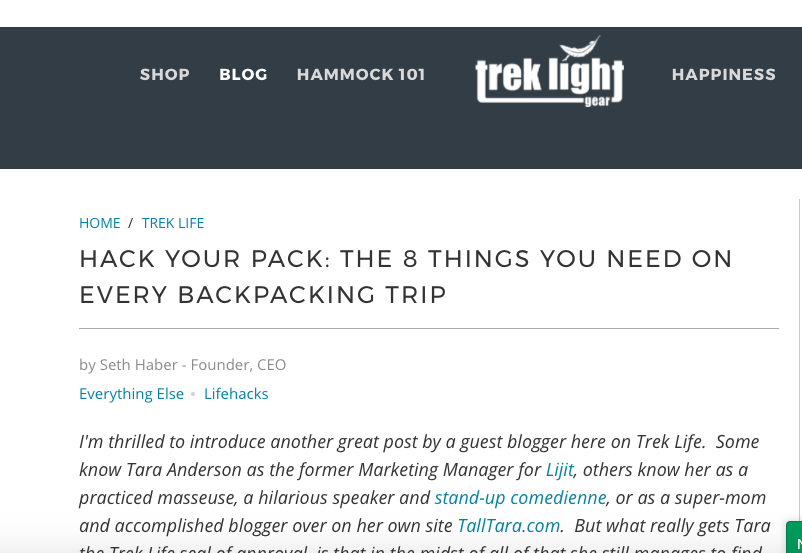 Trek Light Gear  -  Hack your Pack: The 8 Things you Need on Every Backpacking Trip