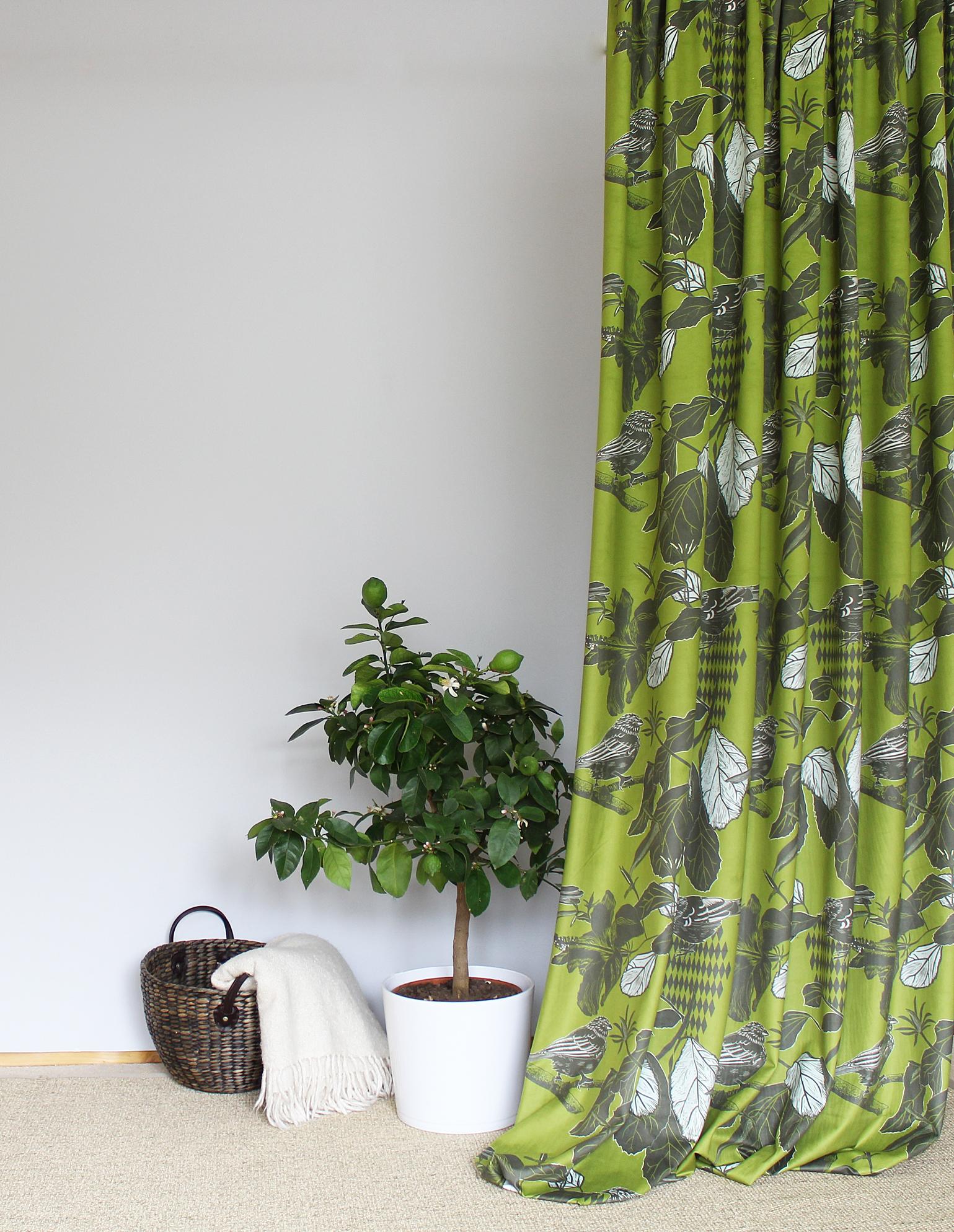 Emberiza green velvet fabric.