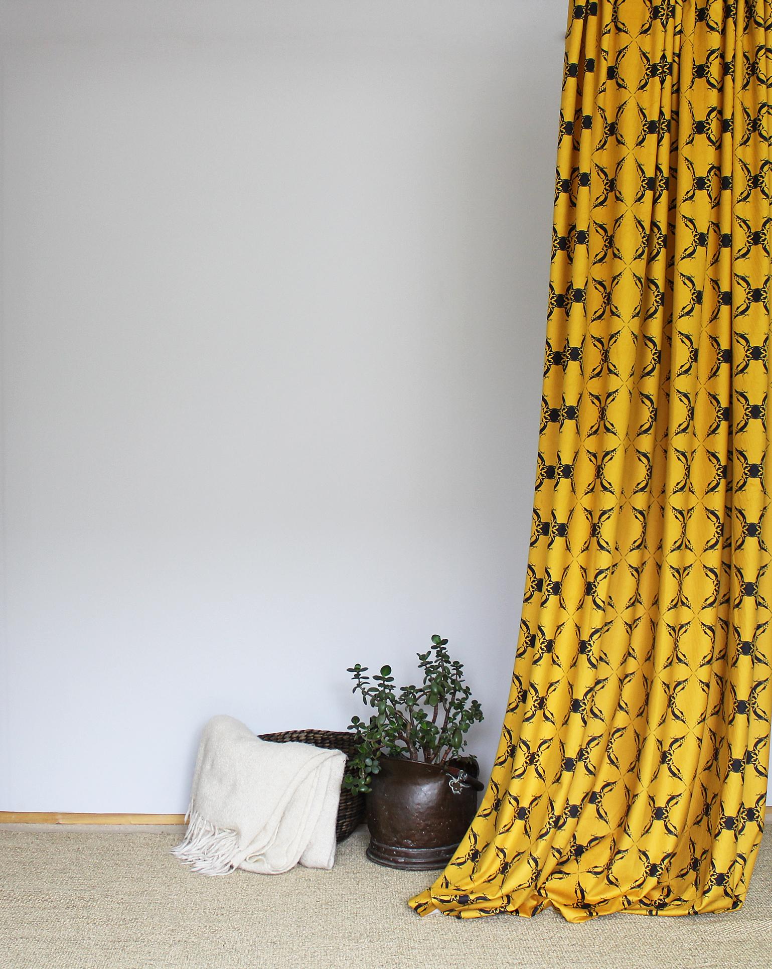 Woodpecker mustard yellow velvet fabric.