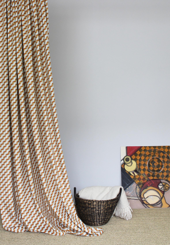 Bahia geometric orange velvet fabric.