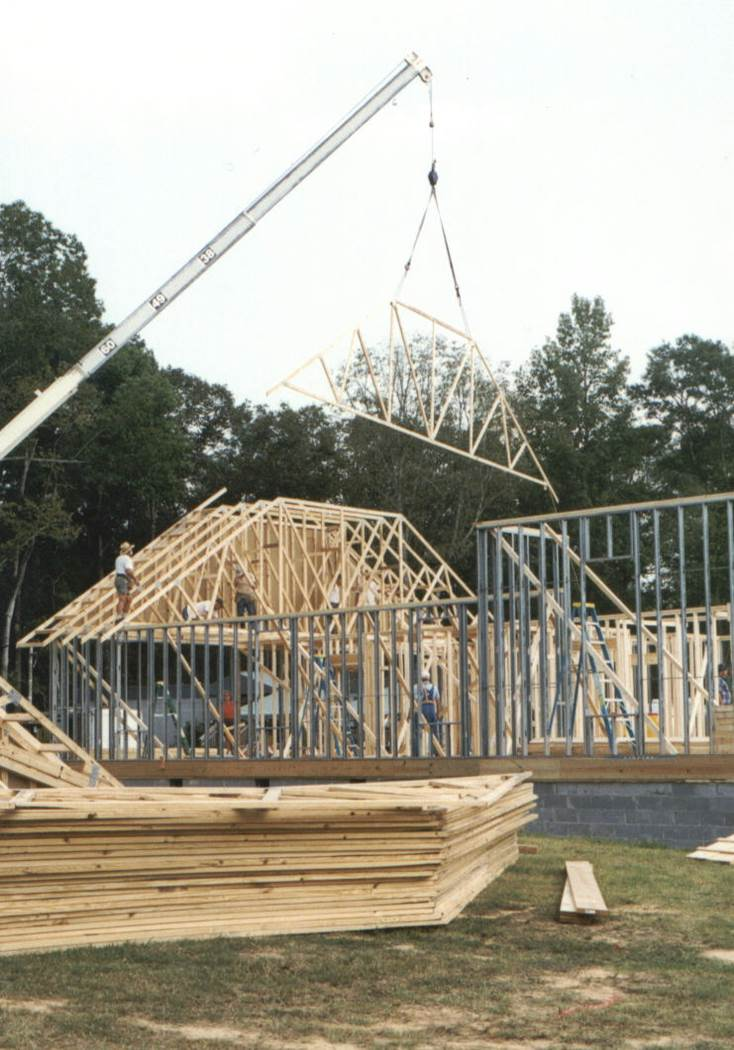 The church building being built.