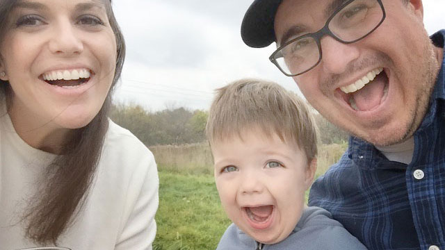 Justin Large with his wife and son, Molly and Auden.