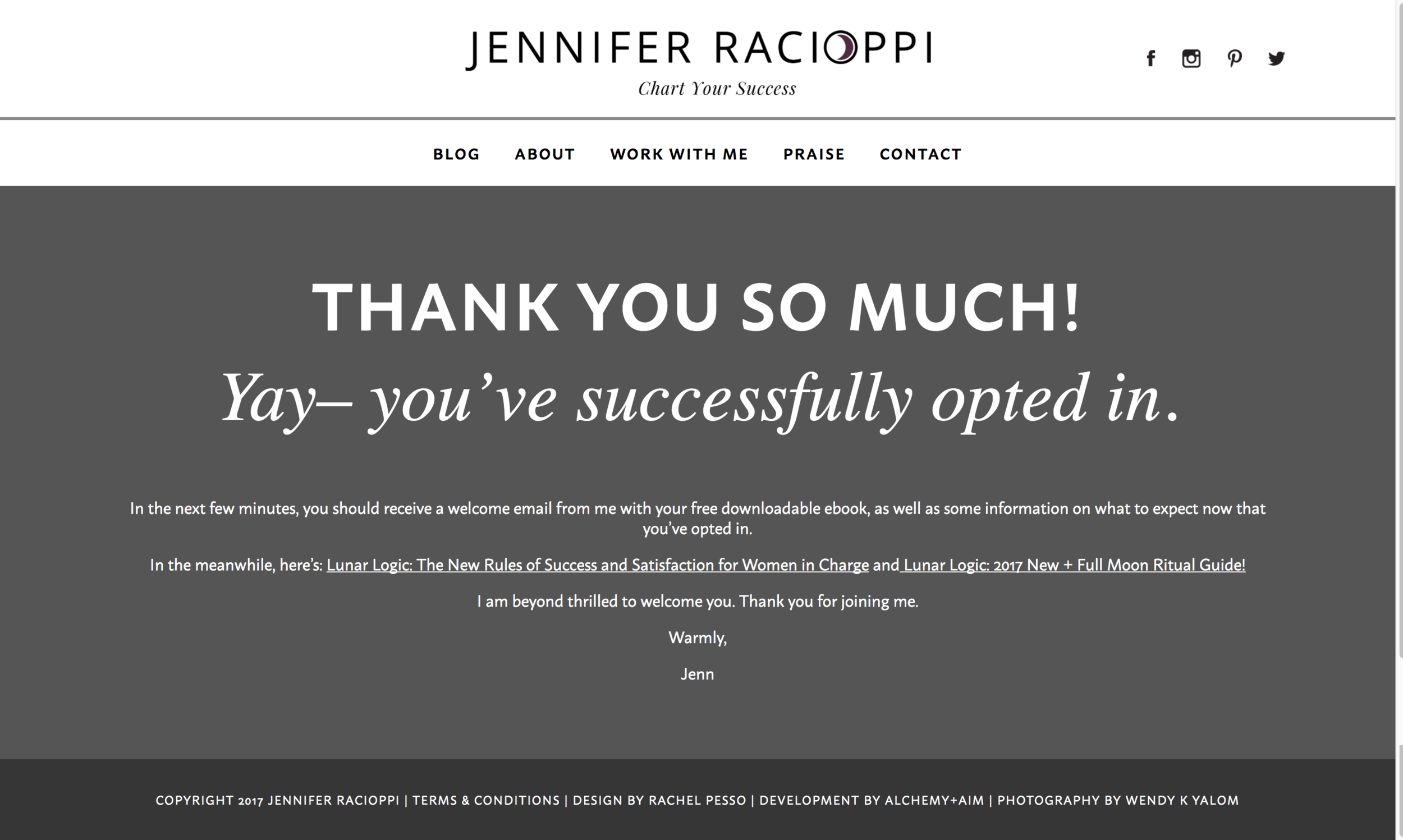Jennifer Racioppi's Thank You page is casual and brief.
