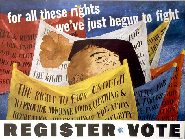 By Ben Shahn (1898-1969). For All These Rights We've Just Begun to Fight, CIO Political Action Committee, 1946. Courtesy of the HUC Skirball Cultural Center Museum Collection, Los Angeles, Library of Congress (164)hh0164s.jpg via https://www.loc.gov/exhibits/haventohome/haven-home.html#obj8, Public Domain, https://commons.wikimedia.org/w/index.php?curid=6426482