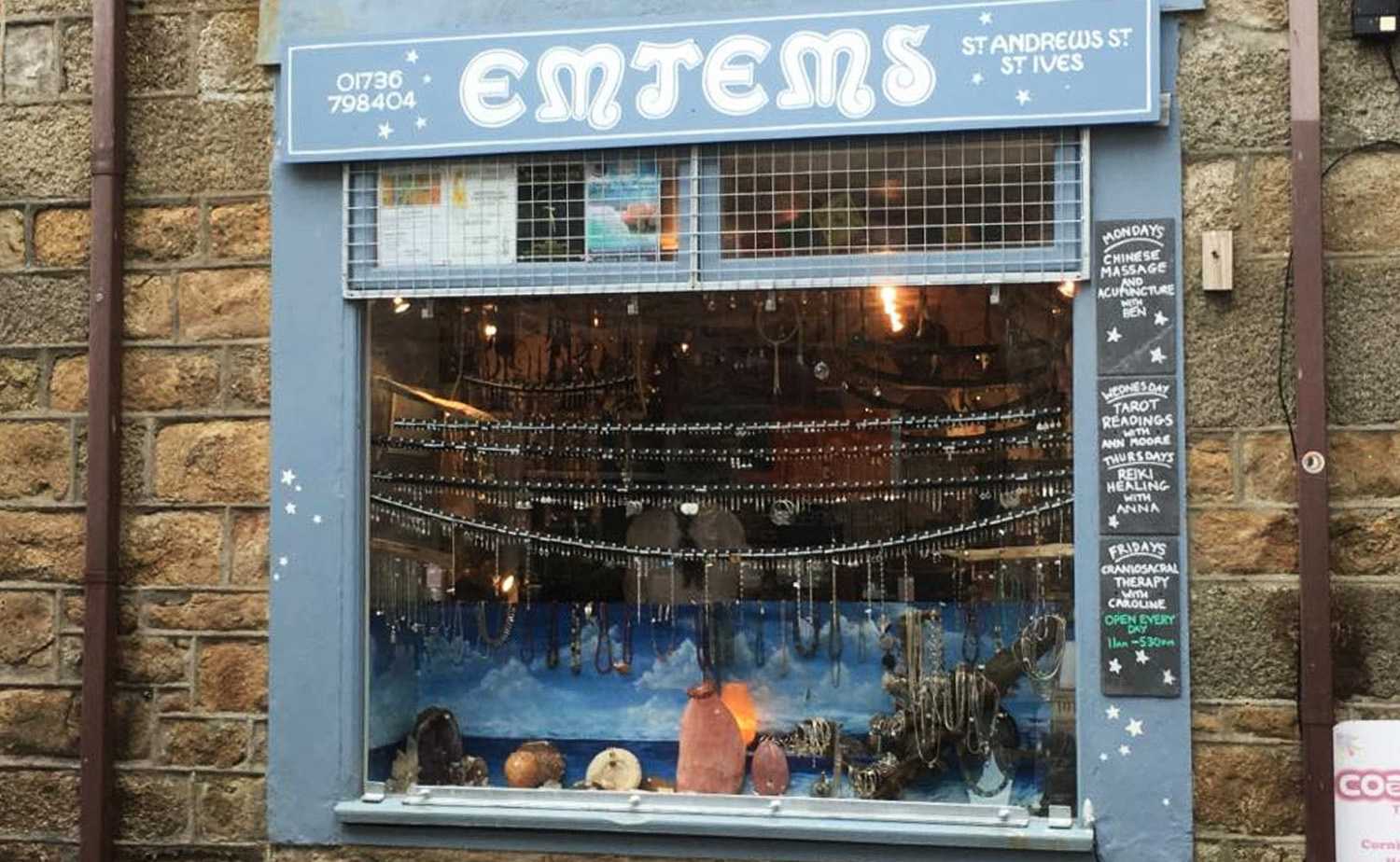 EMJEMS - A friendly , family run business established for over 35 years, selling silver and gemstone jewellery, crystals, fossils, rare and unusual gemstones, tarot cards, essential oils and much more. Card readings and Reiki are available by appointment.01736 798404