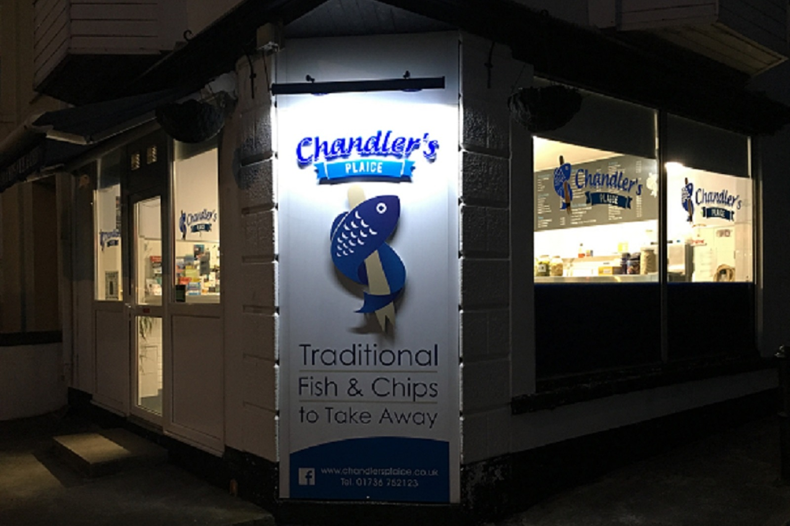 CHANDLERS PLAICE - Chandlers Plaice is a quality family run fish and chippy serving freshly cooked traditional fish & chips; Cod, Haddock, Plaice and Scampi. Also serving Pies, Chicken and Burgers. As an alternative to crispy battered fish, why not try their famous steamed cod with a wedge of lemon?01736 752123