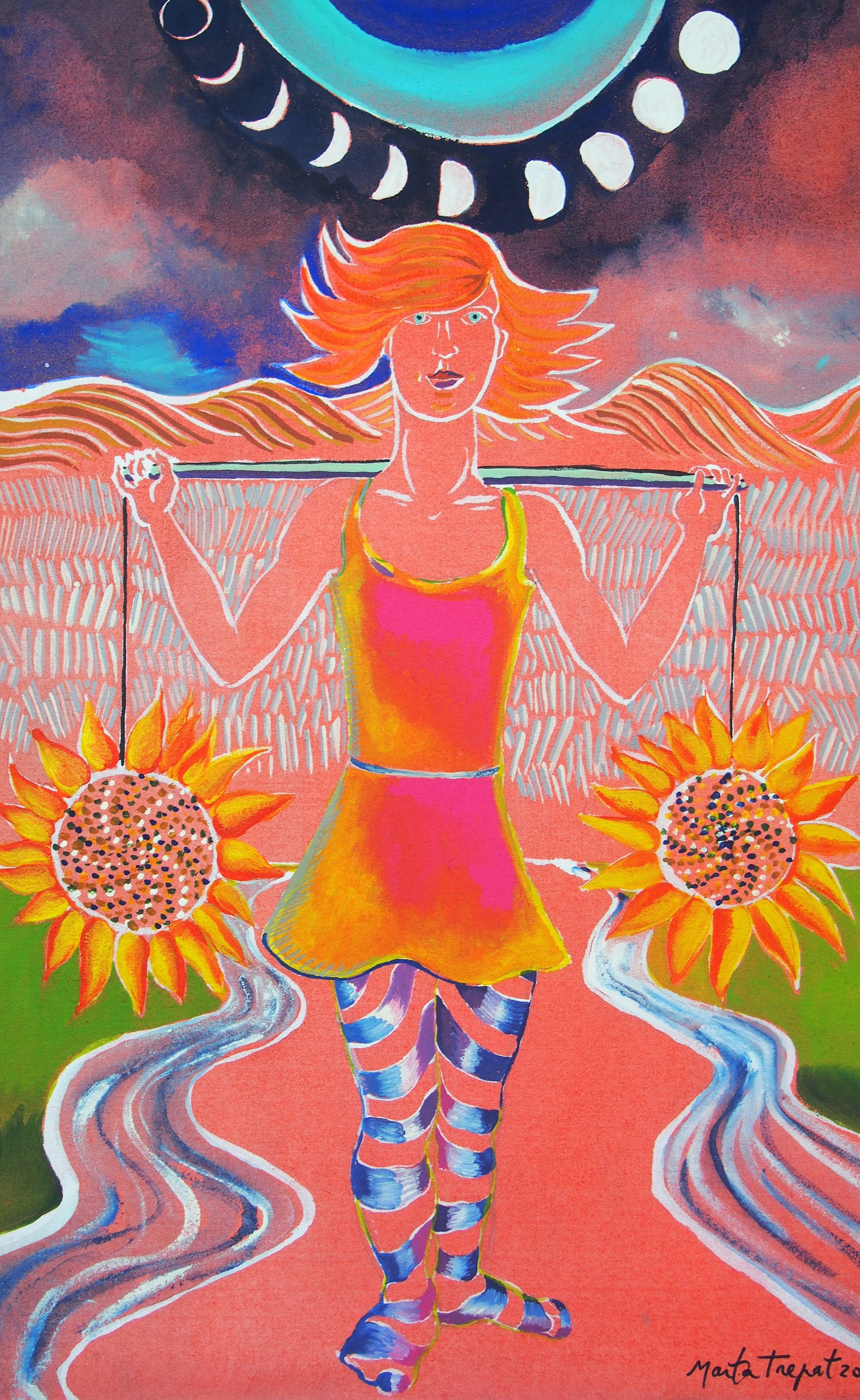 """MINERVA - acrílic sobre tela 60x45cmDins de l'imaginari simbòlic femení hi han les antigues divinitats,aquesta és una reinterpretació inspirada amb el nom del vi """"Minervois""""de la zona de Pairàs sur l'Hers al sud de la França on vàrem anar a Sant Henri a fer una residència artística l'estiu del 2017"""