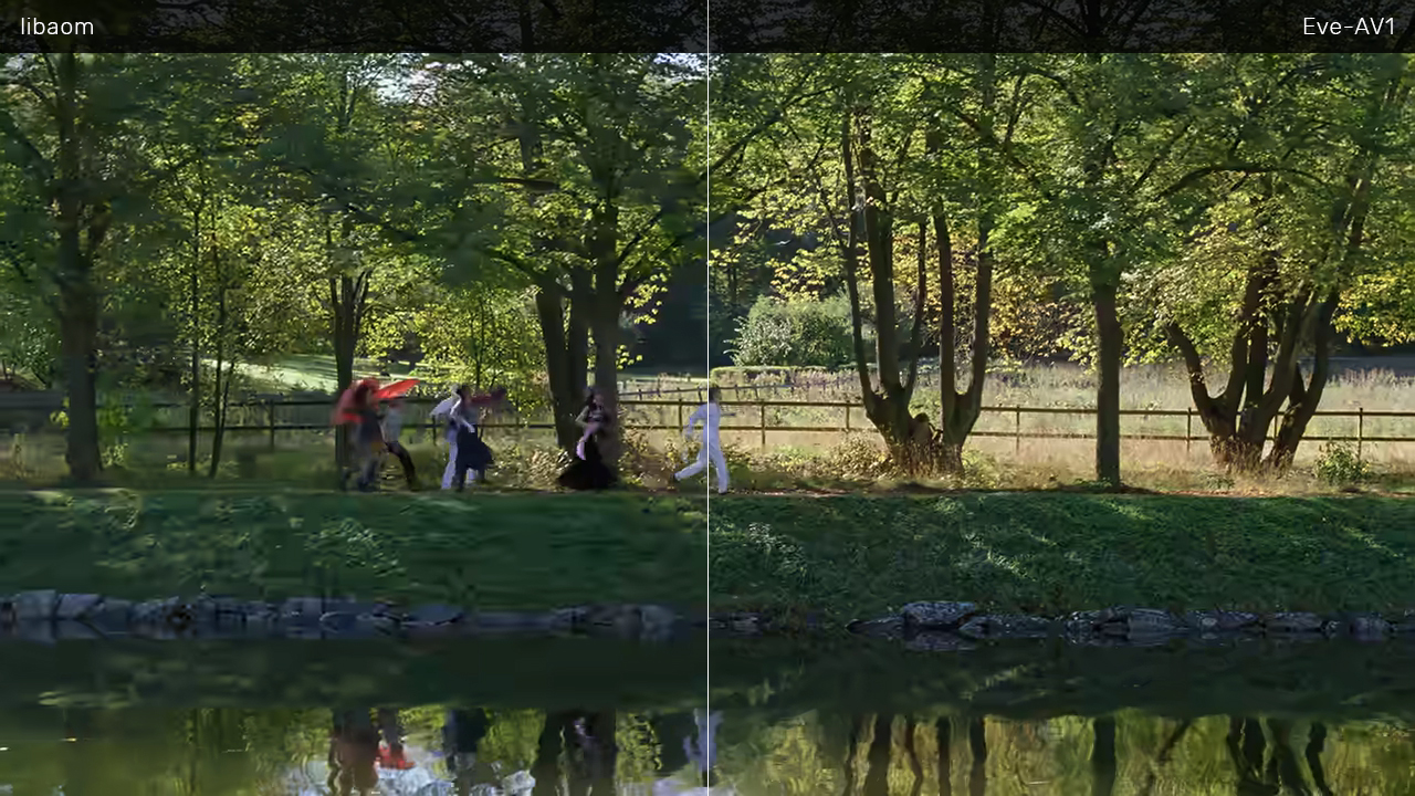 See the difference in visual quality between libaom (left) and Eve-AV1 (right). Notice the people and the grass on the bank.