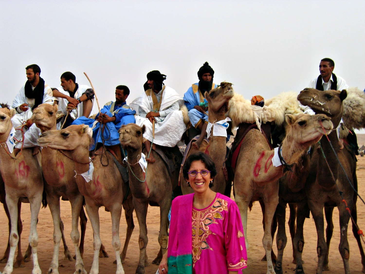 Cécile Duvelle participating in the Moussem of Tan-Tan, an annual gathering of nomadic peoples of the Sahara in southwest morocco.