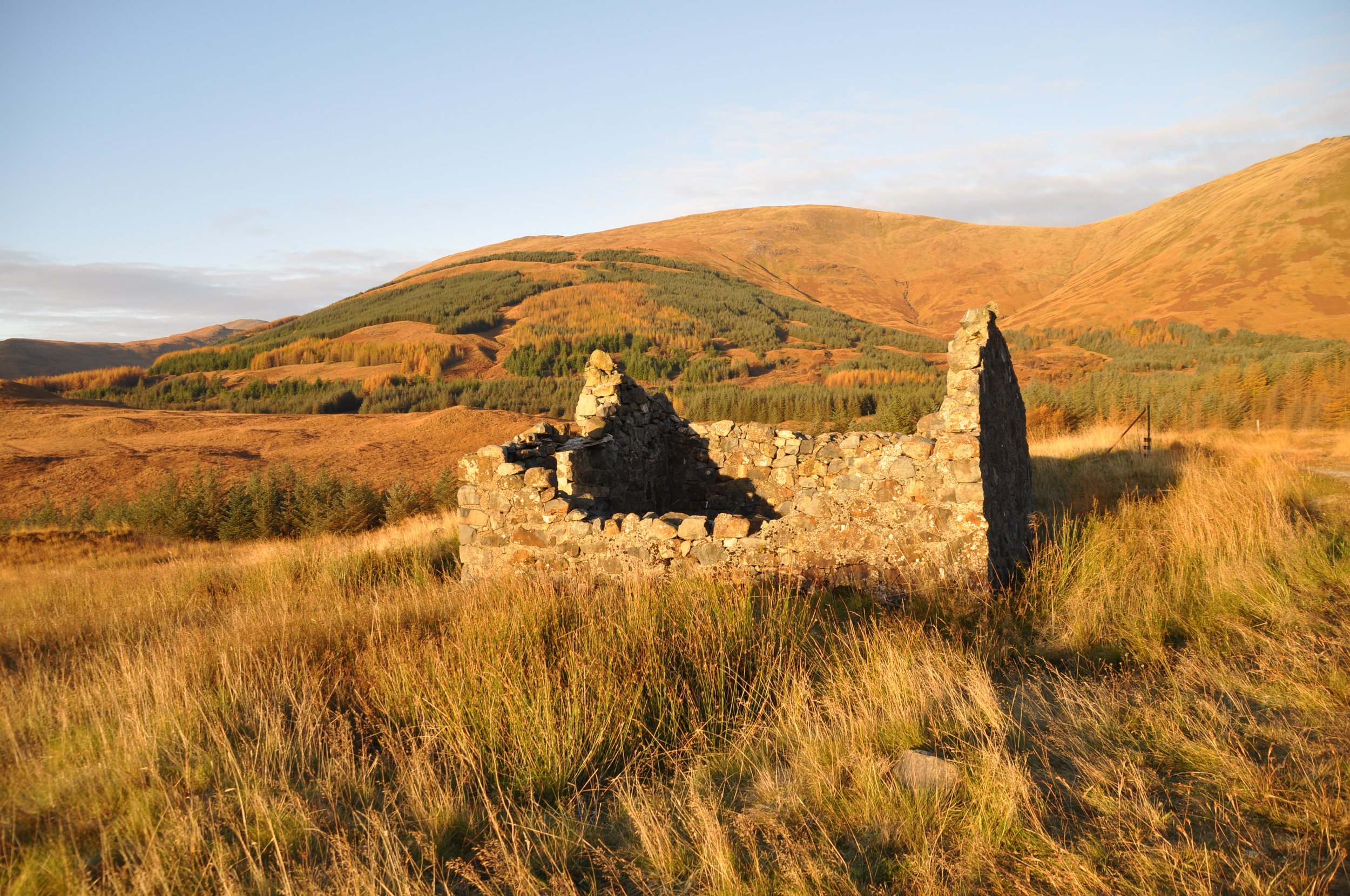 The ruins of crofts on Mull and elsewhere in the Highlands and Hebrides are the legacy of the Clearances. Photo: Meg Pier