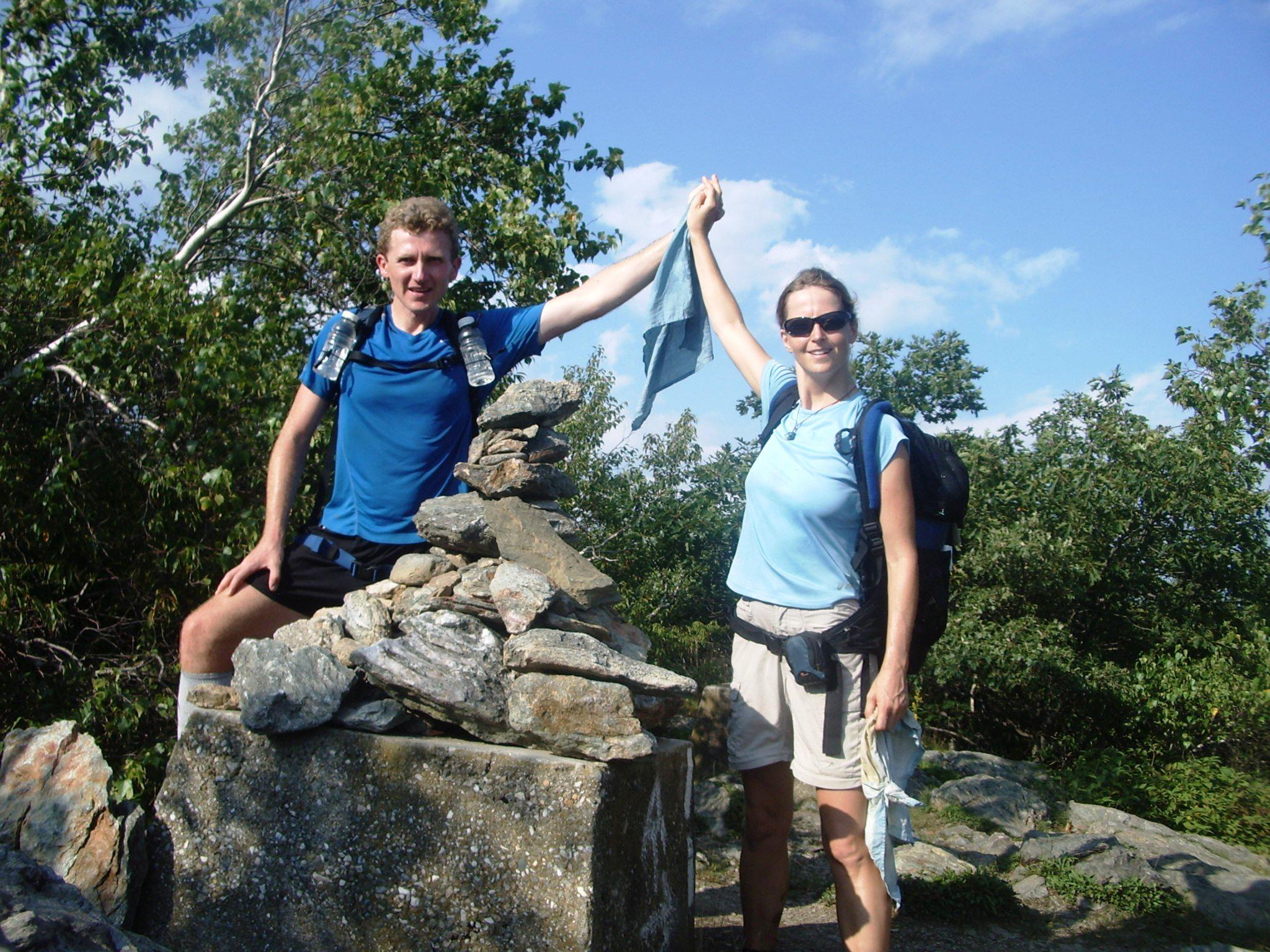 Tom Nowakowski and his wife celebrate the cleansing exuberance of an extended trek. Photo: Tom Nowakowski
