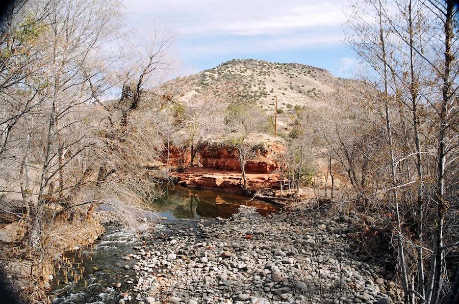 An Arizona winter landscape along bumpy road to V-Bar-V Heritage SIte. Photo: Meg Pier