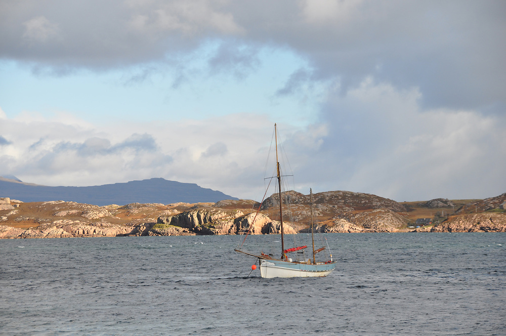 A sailboat crossing the sea loch to Iona. Photo. Meg Pier