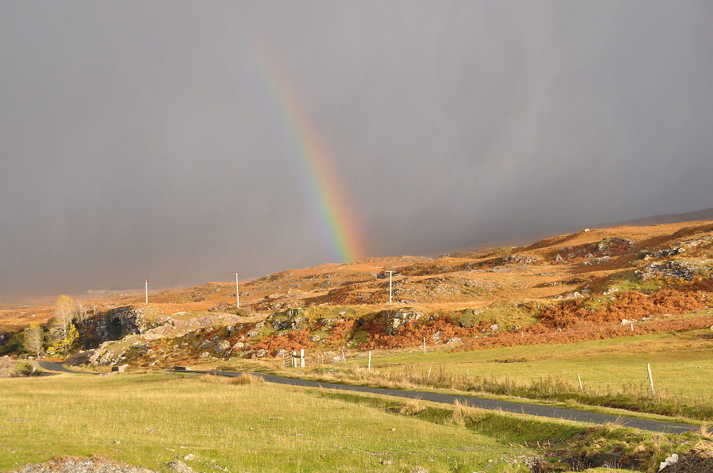 The daily rainbow from beyond the hills. Photo: Meg Pier