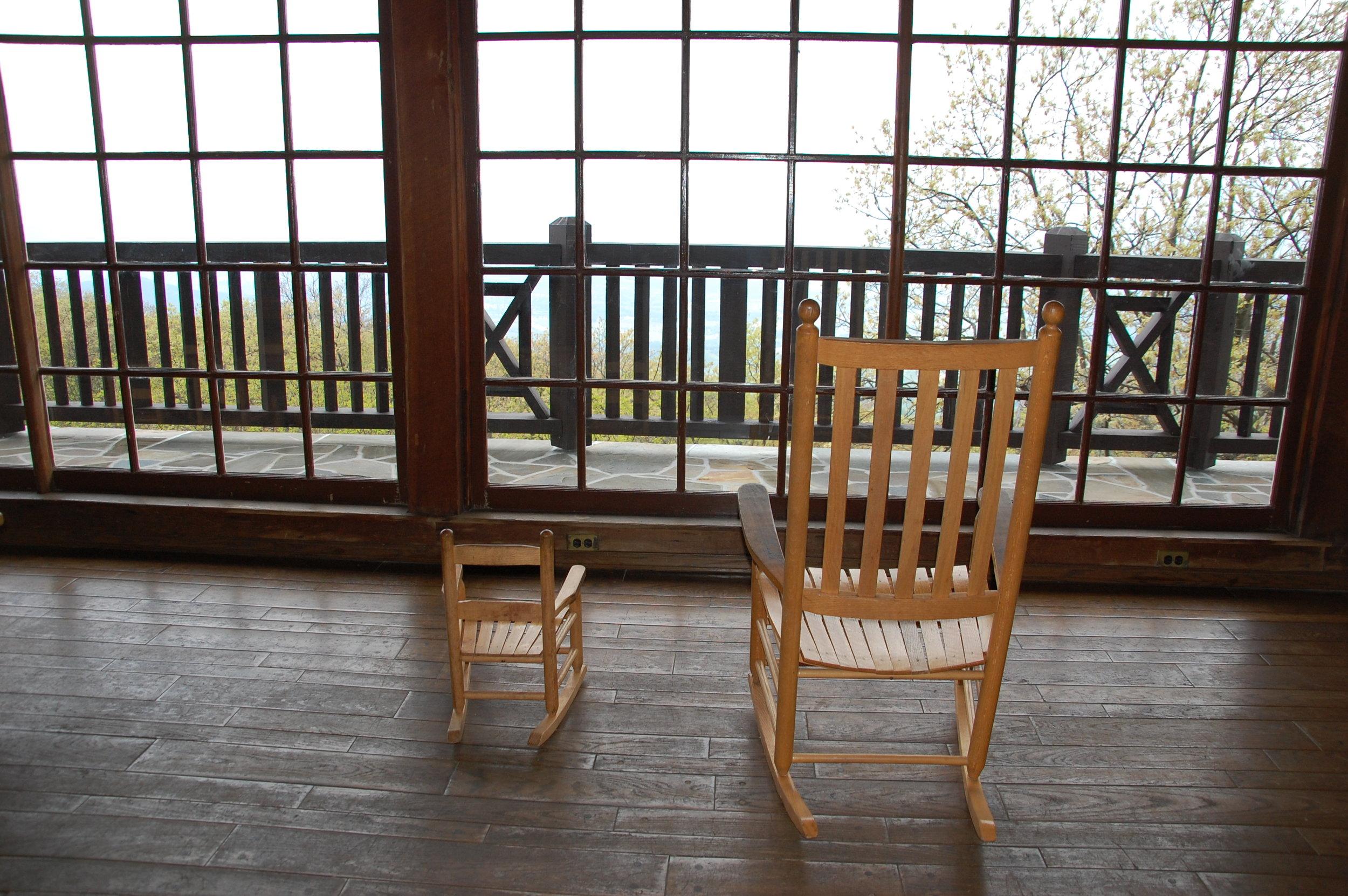 chairs overlooking skyline drive