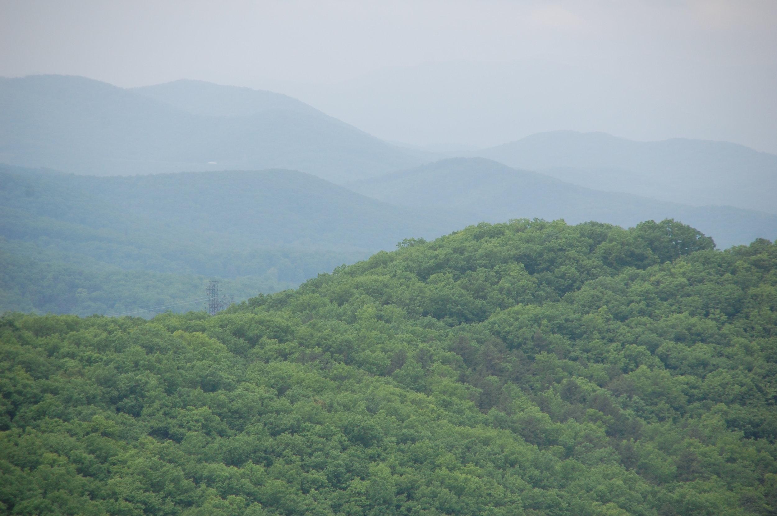green mountains of Shenandoah skyline drive