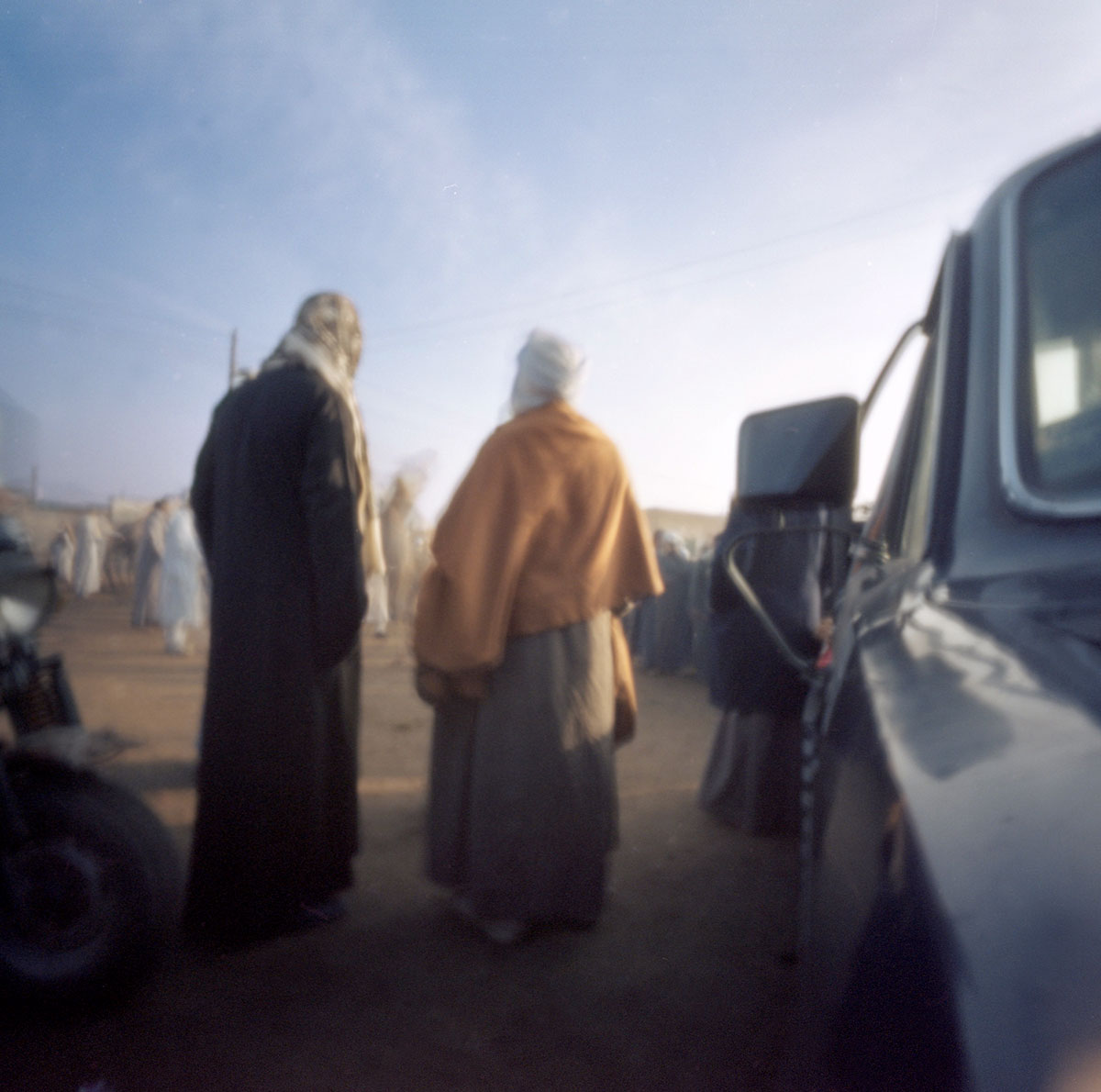 Buyers and Sellers at the Camel Market near Cairo, pinhole photograph, Ektar 100 color film Photo: Liz Doles