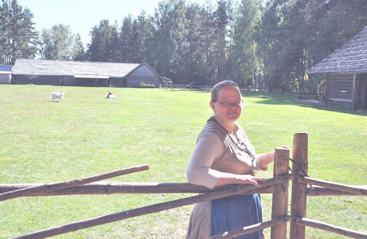 My guide Elina takes a pause at the Seto Farm Museum in Värska. Photo: Meg Pier