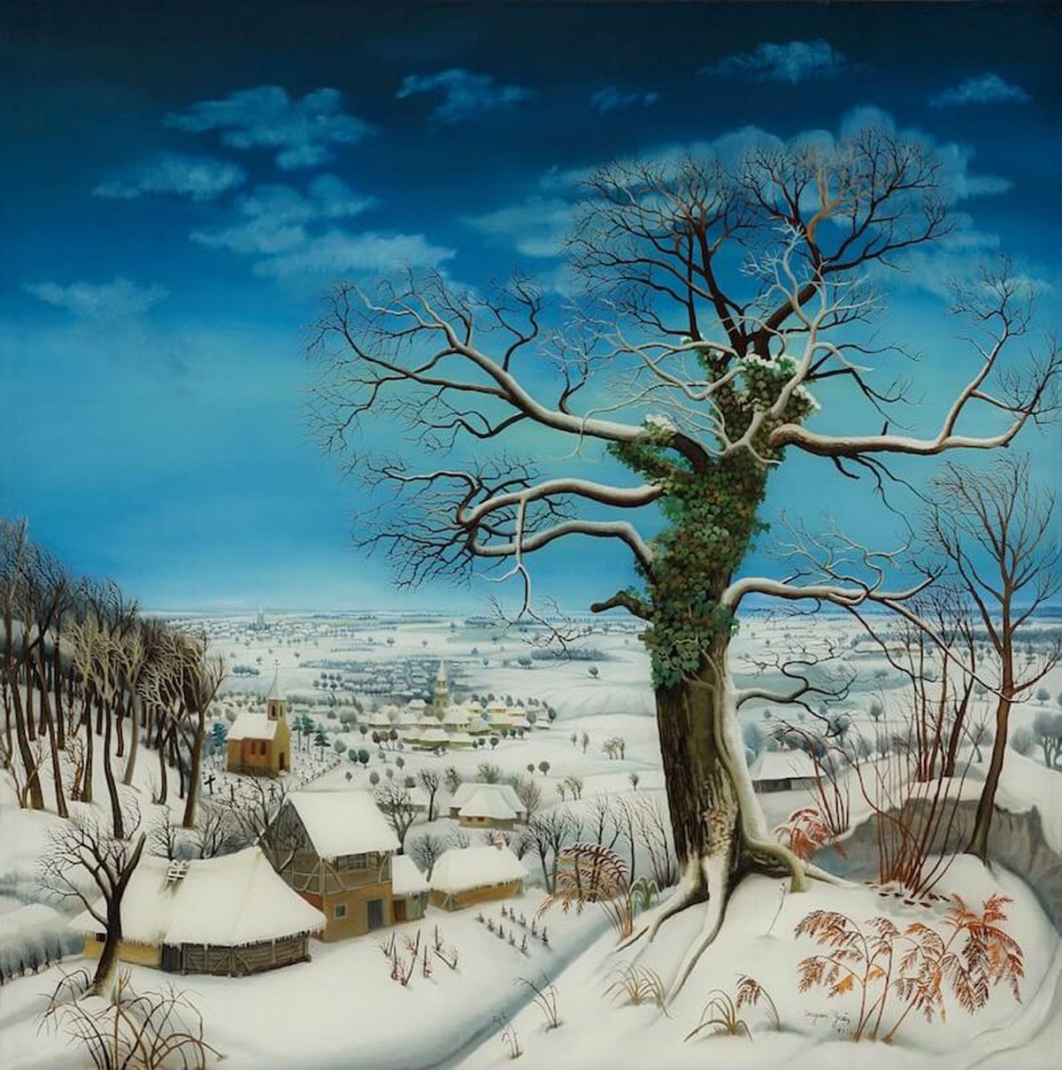 Vjetar u zimi / The Wind in Winter (1973) by Dragan Gaži. Photo credit: The Croatian Museum of Naïve Art, Zagreb