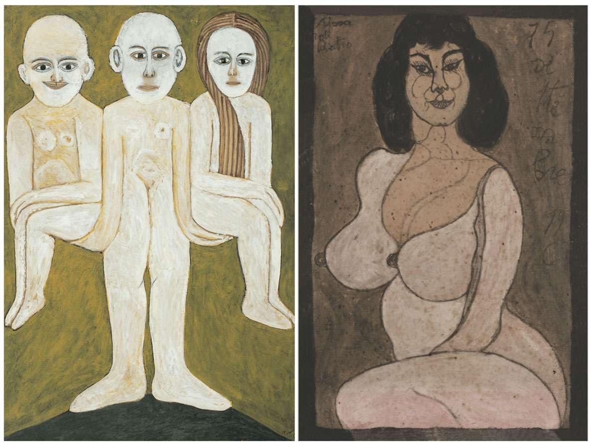 Left: by Sava Sekulic. Right: by Pietro Ghizzardi. Photo credit: The Croatian Museum of Naïve Art, Zagreb