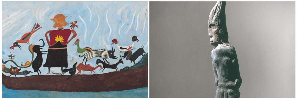 Left: by Ilija. Right: by Milan Stanisavljević. Photo credit: The Croatian Museum of Naïve Art, Zagreb