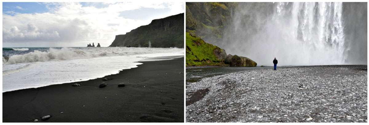 (Left) Volcanic black sand beach & otherworldly rock formations of Vik. (Right) Iceland's power of nature compels awe & humility of visitors. Photo: Meg Pier