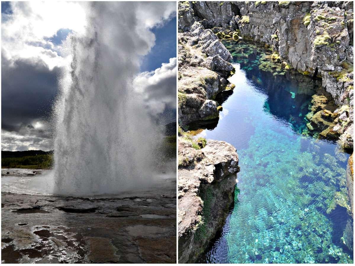 (Left) The geysir, Strokkur. (Right) The 'Peningagja' or 'money gorge' at Thingvellir. Photo: Meg Pier