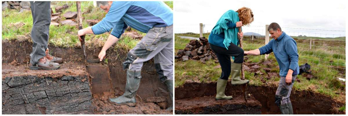"'Flicking' the peat with a ""tairsgeir"" is a two-person operation. Photos: Meg Pier"