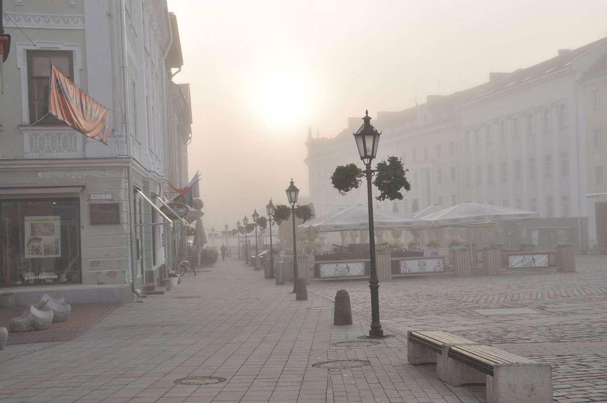 Tartu's Old Town Square in the misty morning fog. Photo: Meg Pier