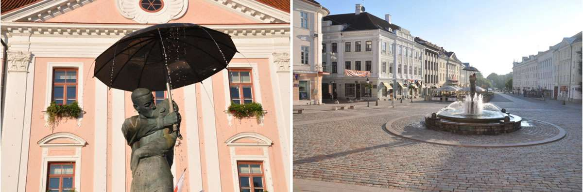 'The Kissing Students' sculpture and fountain is one of the most recognised symbols of Tartu, located in Old Town Square, one of the city's 'living rooms.' Photos: Meg Pier