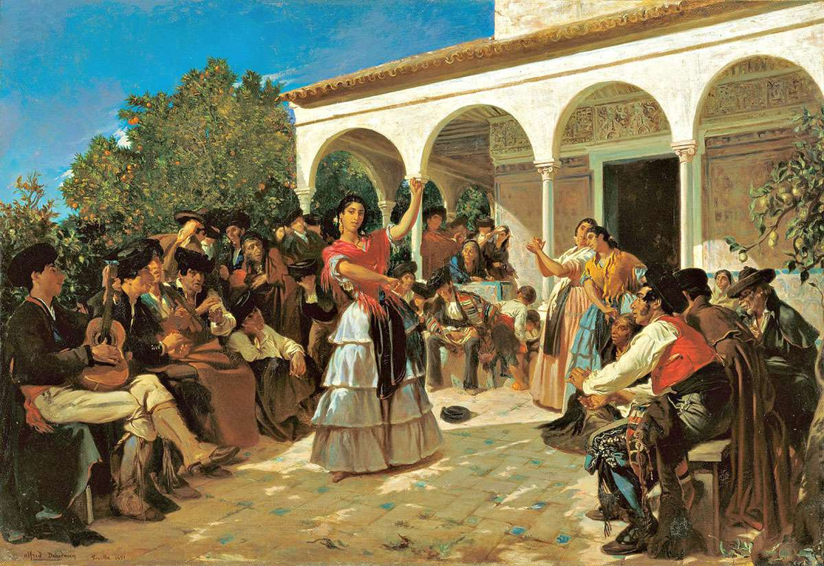 A Gypsy Dance in the Gardens of the Alcázar, in front of Charles V Pavilion.(1851)   Alfred Dehodencq [Public domain], via Wikimedia Commons