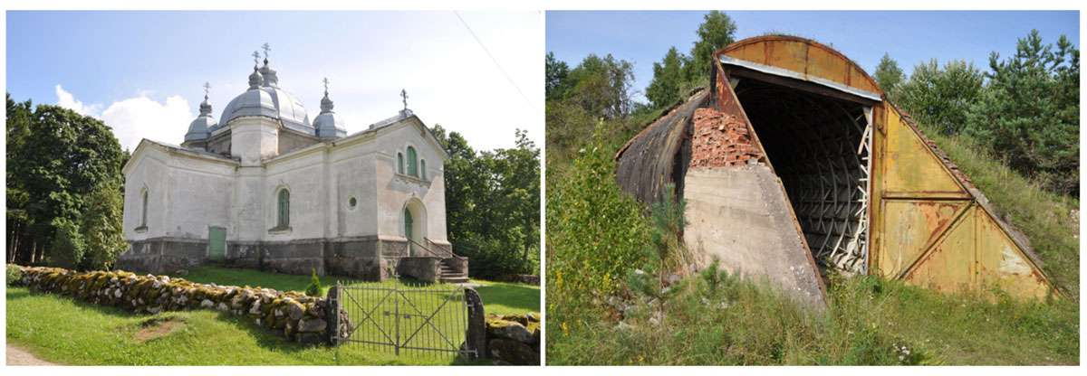 Study in contrasts: 19th century Rinpsi Orthodox Christian Church and remnant of Soviet rocket base. Photos: Meg Pier