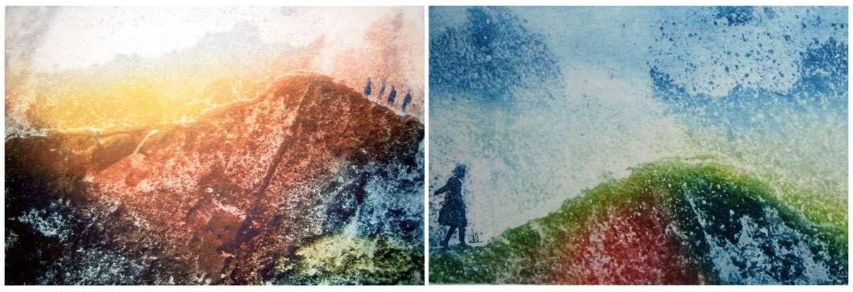 """(Left) """"Ascending"""" by Irene Jensen. (Right) """"Endless Possibilities"""" by Irene Jensen."""
