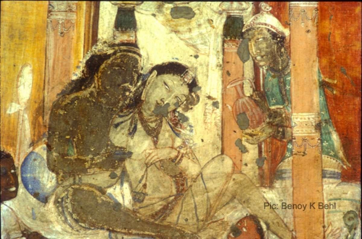 Vishvantara Jataka, Mural Painting, Cave 17, Ajanta, Maharashtra, 5th century. Photo: Benoy K Behl