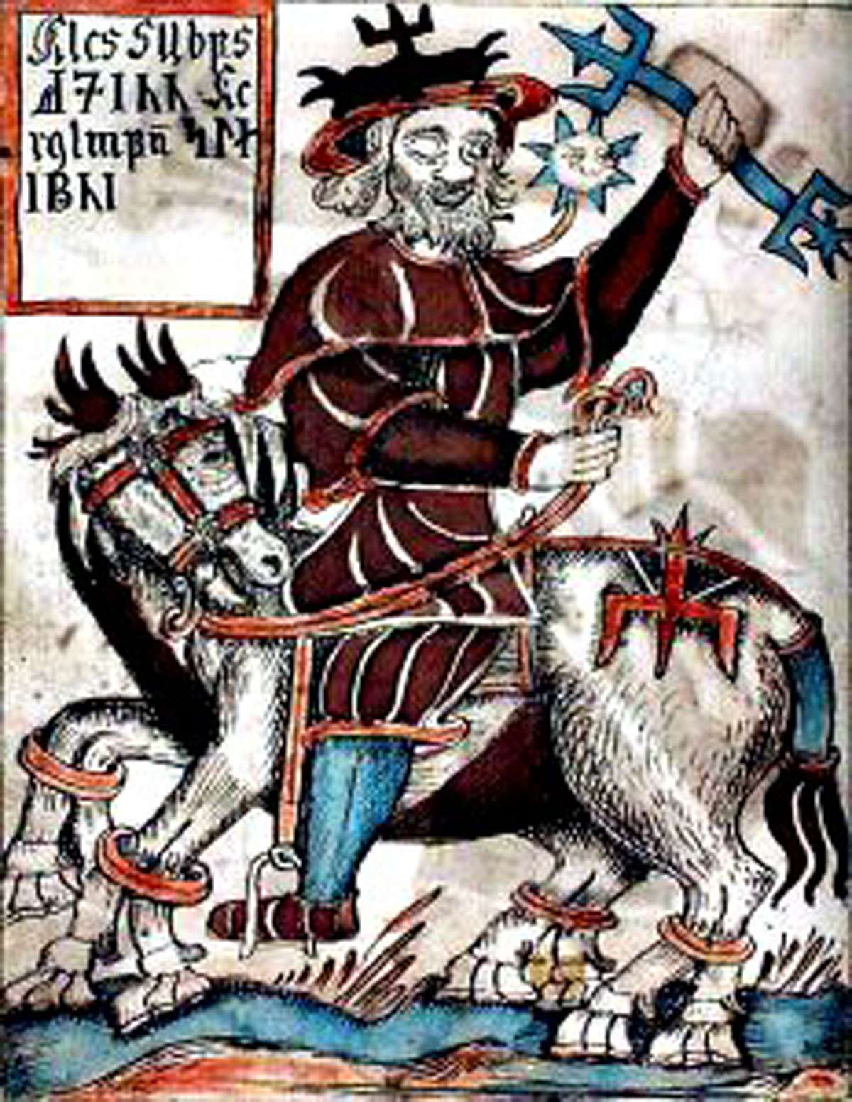 Odin rides the eight-legged horse Sleipnir from the 18th century Icelandic manuscript now in the care of the Danish Royal Library. [Public domain], via Wikimedia Commons