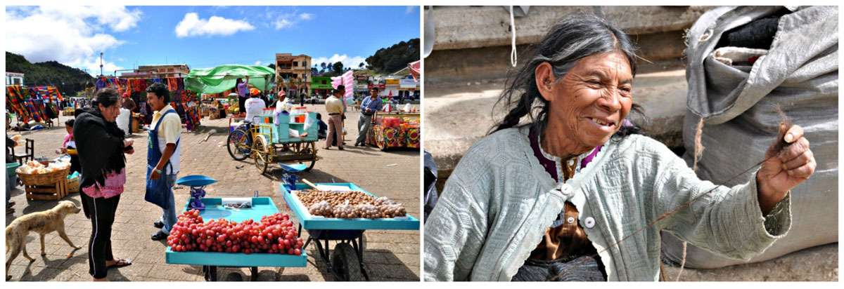 San Juan Chamula's economy is largely based on bartering and the vendors in the plaza do a brisk business. And weaver woman. Photos: Meg Pier