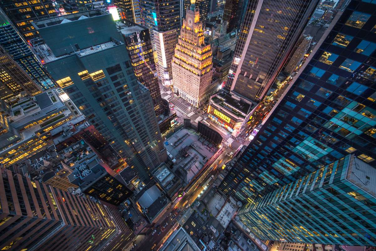 Bird's eye view of just a small segment of NYC's streets