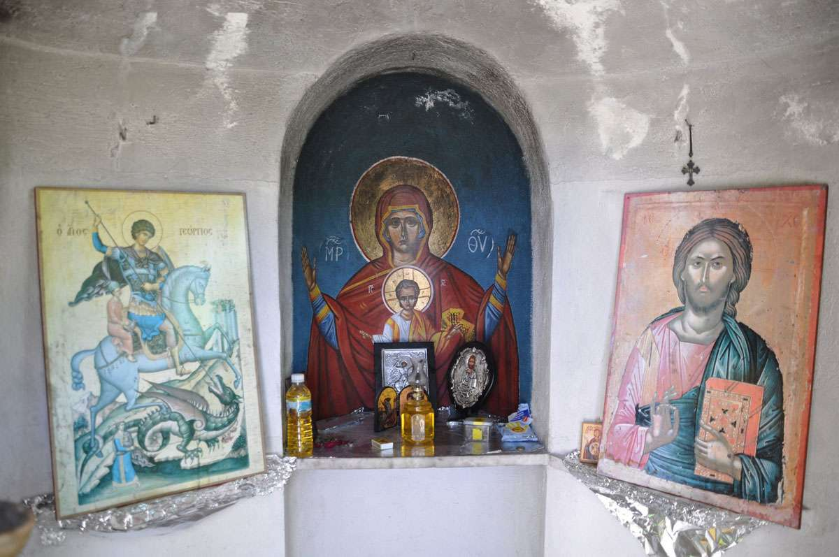 Icon shrine in small chapel near beginning of Troodos Mountains