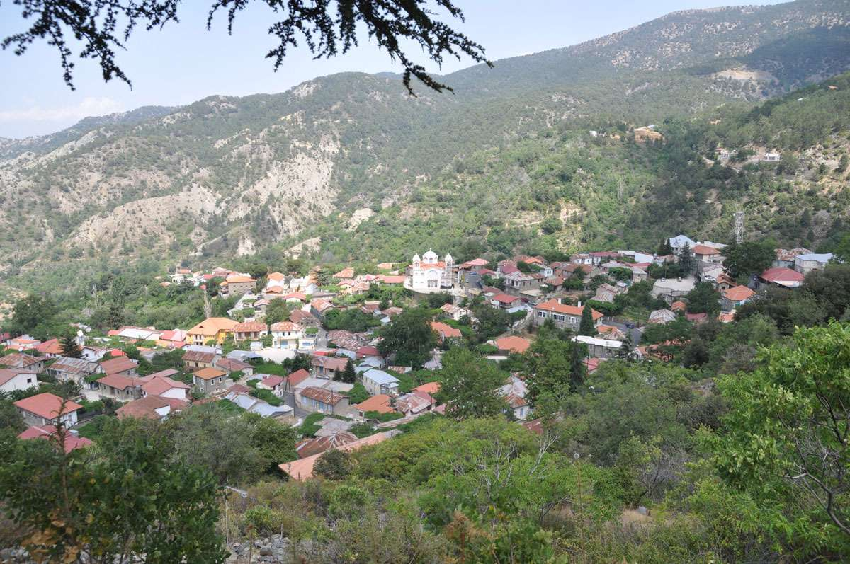 Village of Pedoulas in Marathassa Valley in Troodos Mountains