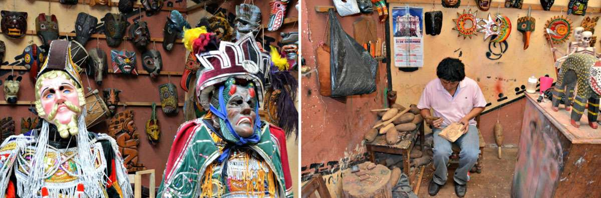 Folk artisan Miguel Angel Ignacio of Casa de Mascaras in Guatemala's colorful town of Chichicastenango makes masks that tell the story of the area's legends and history. Photo: Meg Pier