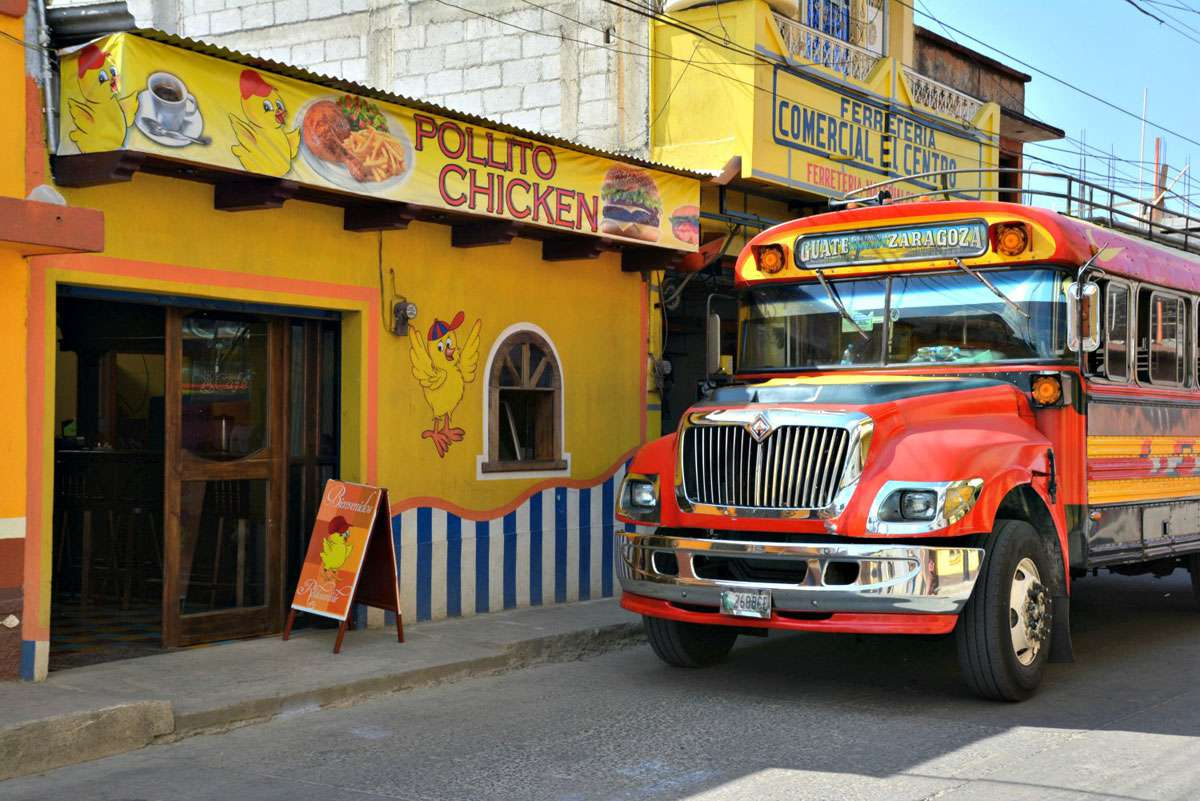 """Public transportation is provided by buses called """"camionetas"""" by locals; a guidebook writer gave them the name """"chicken buses."""" Photo: Meg Pier"""