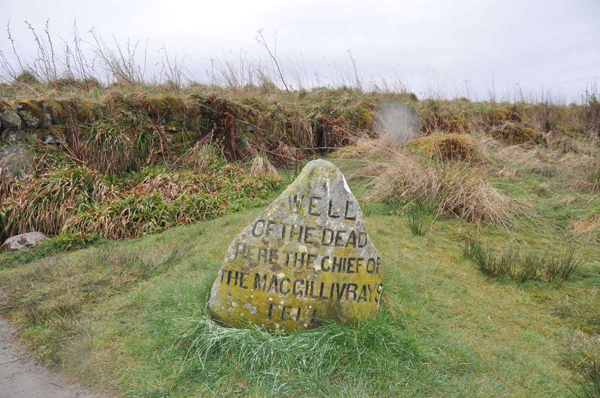 A marker commemorates the death of members of the MacGillivrays at Culloden Battlefield, a conflict that forever changed Scotland's cultural landscape. Photo: Meg Pier