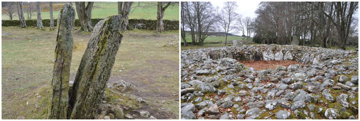Views of some of the mysterious standing stones of Clava Cairns cemetery complex. Photo: Meg Pier