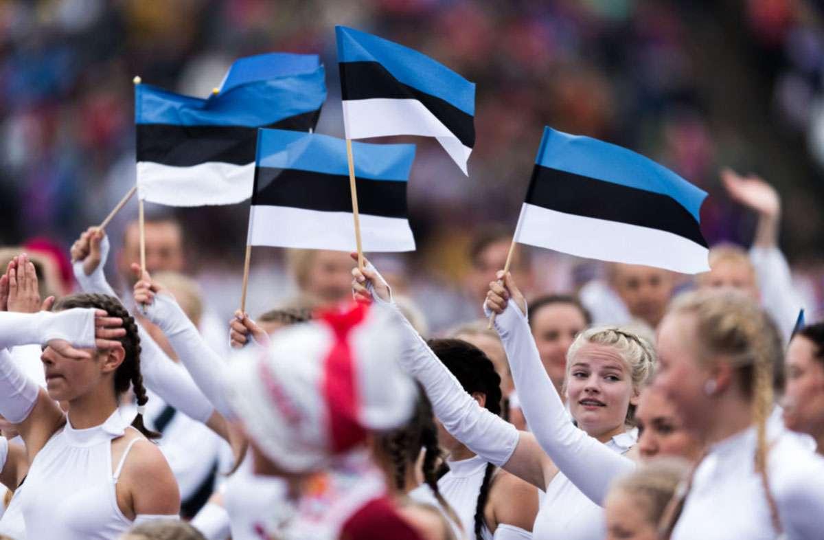 Estonian flags held high in pride. Credit:    http://laulupidu.ee