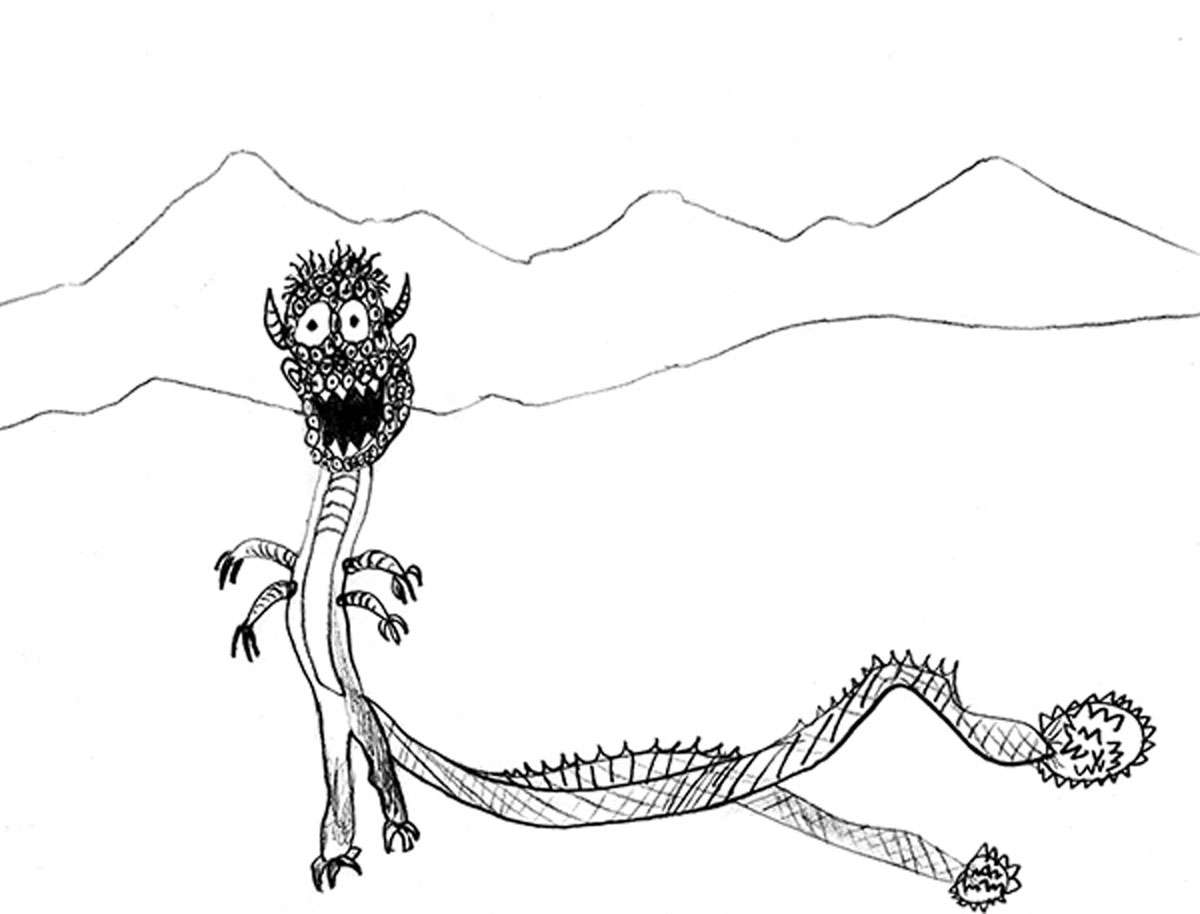 """Illustration """"Nordic Beast with Fifty Eyes or More"""" courtesy of Colin Bowker"""