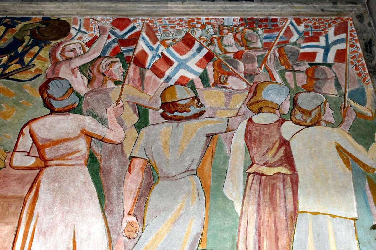 Celebration of freedom is a theme celebrated in Oslo City Hall's public art collection. Photo: Meg Pier