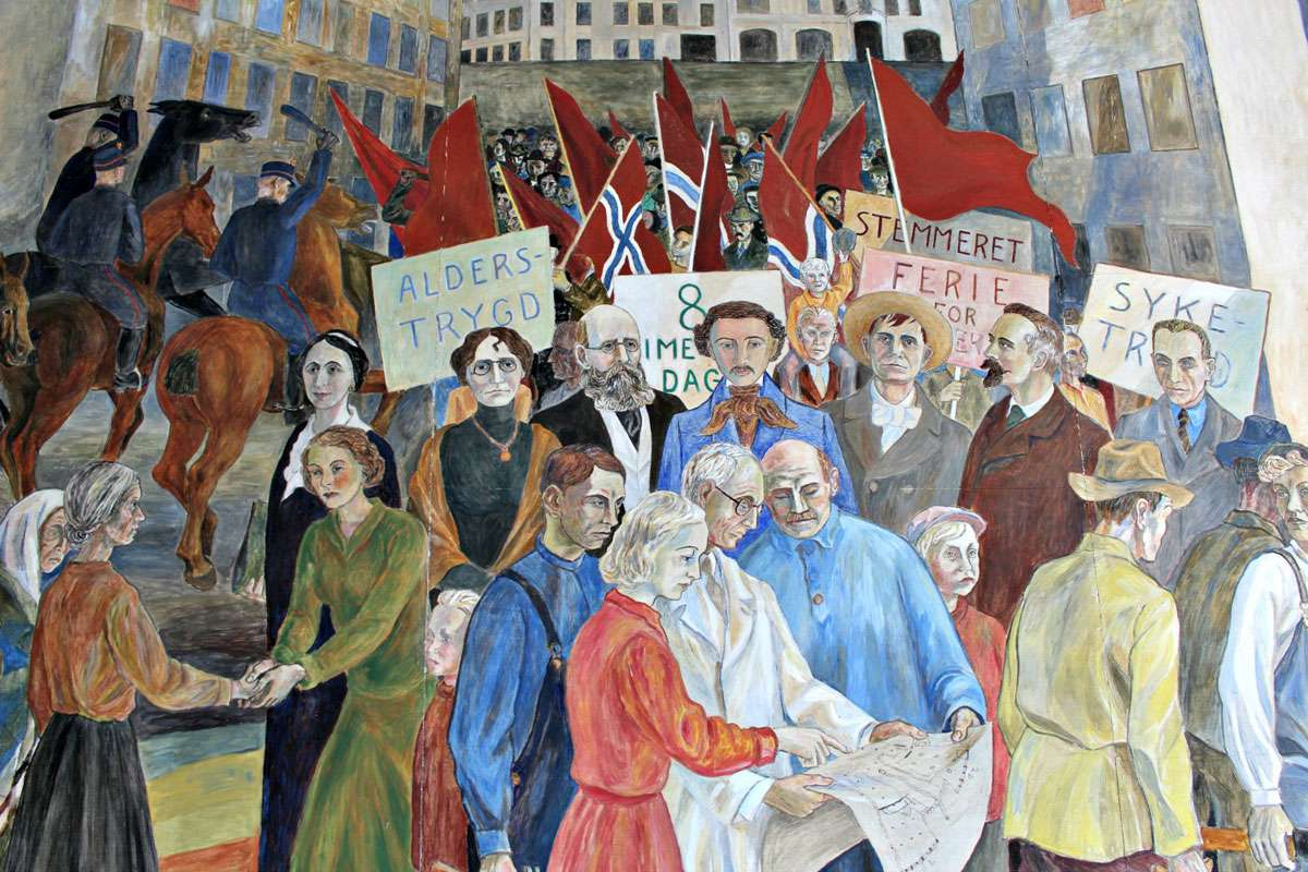 Norway's social progress and women's rights are illustrated in Reidar Aulie's painting The Labor Movement's Development in Oslo. Photo: Meg Pier