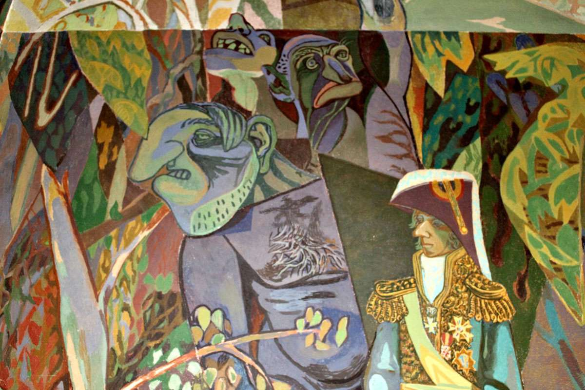 Trolls are the personification of Evil in Norwegian culture and depicted in Aage Storstein's fresco in the West Gallery. Photo: Meg Pier
